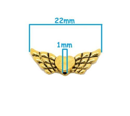 Lot 10 perle intercalaire Aile d/'ange avec coeur Doré 22mm x 9mm