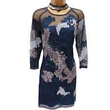KAREN MILLEN NAVY ORIENTAL MESH FLORAL EMBROIDERED COCKTAIL SHIFT TUNIC DRESS 12