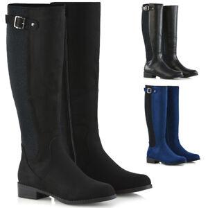 Womens-Knee-High-Boots-Flat-Low-Heel-Ladies-Stretch-Calf-Leg-Buckle-Zip-Riding