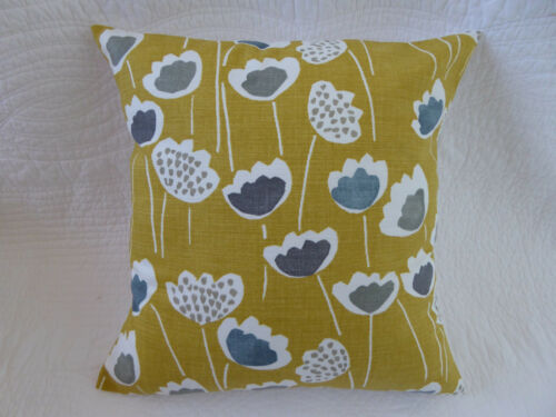 "16/"" inch Cushion Cover Saffron Mustard Yellow Grey Flower Print Handmade 40cm"