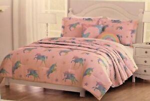 d6fb8f21ab508 NEW 4 pc UNICORN Pink Lil Envogue Comforter SET Rainbow Pastel ...