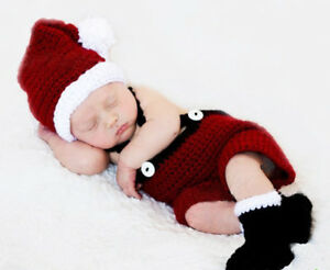 2ed8e396b Details about Newborn Baby Boy Girl Crochet Knitted Christmas Santa Costume  Hat Outfit Clothes