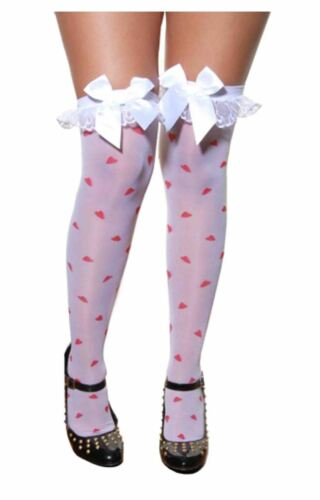 Womens Over The Knee Hold Up Stocking With Bow Ladies Fancy Dress Accessory