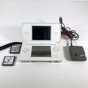 Nintendo DS Lite USG-001 Handheld Console - Polar White Games Charger - Tested