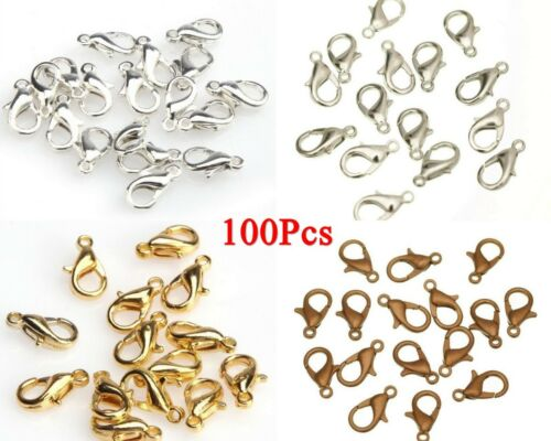 100Pcs Parrot Lobster Clasp Fastening Clip Finding Jewellery Necklace Bracelet