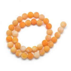 Edelsteine-Achat-Perlen-8mm-Matt-Naturstein-Gelb-Orange-Schmuck-BEST-R316
