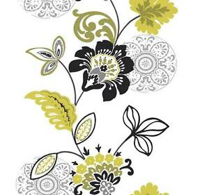Wallpaper-Designer-Modern-Large-Floral-Stripe-Bright-Green-Black-Silver-on-White
