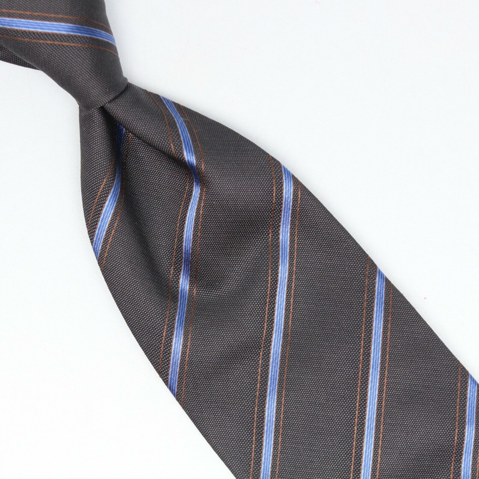 John G Hardy Herren Seidenkrawatte Grau Blau Goldstreifen Gewebt Skinny Dünn | Leicht zu reinigende Oberfläche