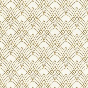 Details about MODERN ART DECO ASTORIA WALLPAPER WHITE / GOLD , RASCH 433913  NEW