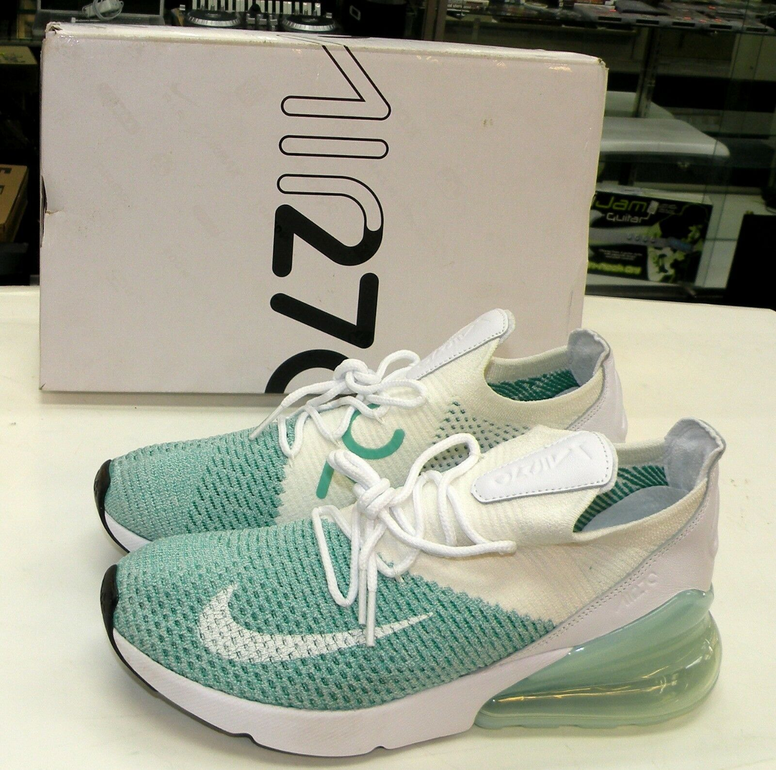 nike  's w air max 270 flyknit teal teal flyknit vert blanc courir ah6803-301 taille 7,5 295f75