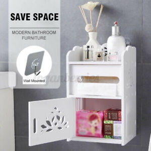 Wall-Mounted-Storage-Cabinet-Makeup-Drawer-Bathroom-Shelf-Organizer-w-Tissue