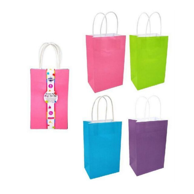12x Coloured Paper Gift Bags Craft Kraft Bag DIY Wrapping Present 22x13.5x8.5cm