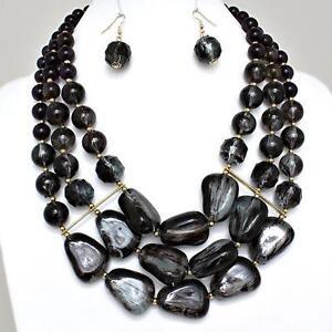 Black-Purple-Necklace-Earrings-Chunky-Layered-Acrylic-Beads-Jewelry-Set
