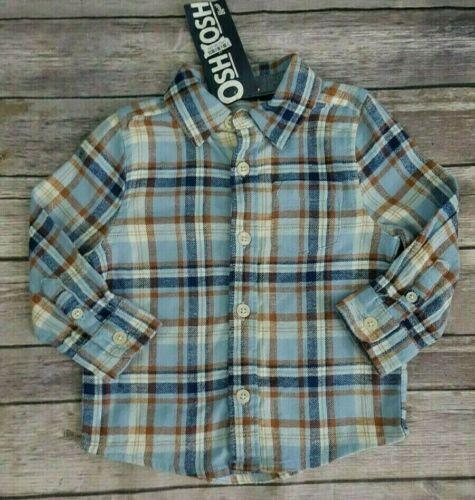 4T Long Sleeve Button Down Flannel Shirt OshKosh B/'gosh Boys Toddlers 12M 3T