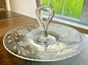 Heisey Etched Round Clear Glass Platter with Handle.