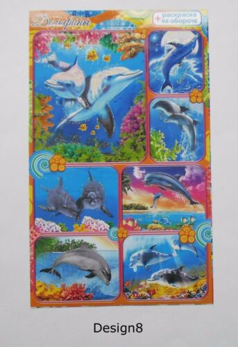 10x15cm Dolphins and Fish Stickers 4x6/'/'