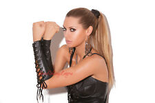 "GENUINE LEATHER LACE UP GLOVES Black METAL GAUNTLET Cosplay 9.75"" Arm Cuffs OS"