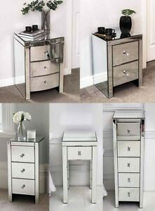 Mirrored Gl Bedside Drawers Table 2
