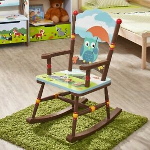 Details About Kids Children S Enchanted Woodland Forest Animals Owl Rocking Chair Rocker New