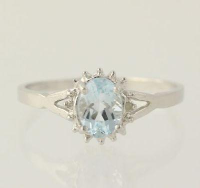 Femme platine sur argent sterling OVAL Cut Topaze Bleue Diamant Accent Ring