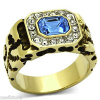 Light Sapphire & Crystal Gold Ep Stainless Steel Mens Nugget Ring