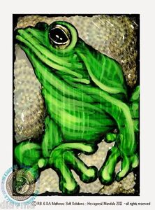 ART-green-tree-FROG-Nature-Animal-Wildlife-Original-Artist-Print-by-Di