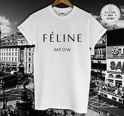 FELINE MEOW CAT PARIS BLOG TOP T SHIRT HIPSTER CARA DELEVINGNE TUMBLR UNISEX NEW