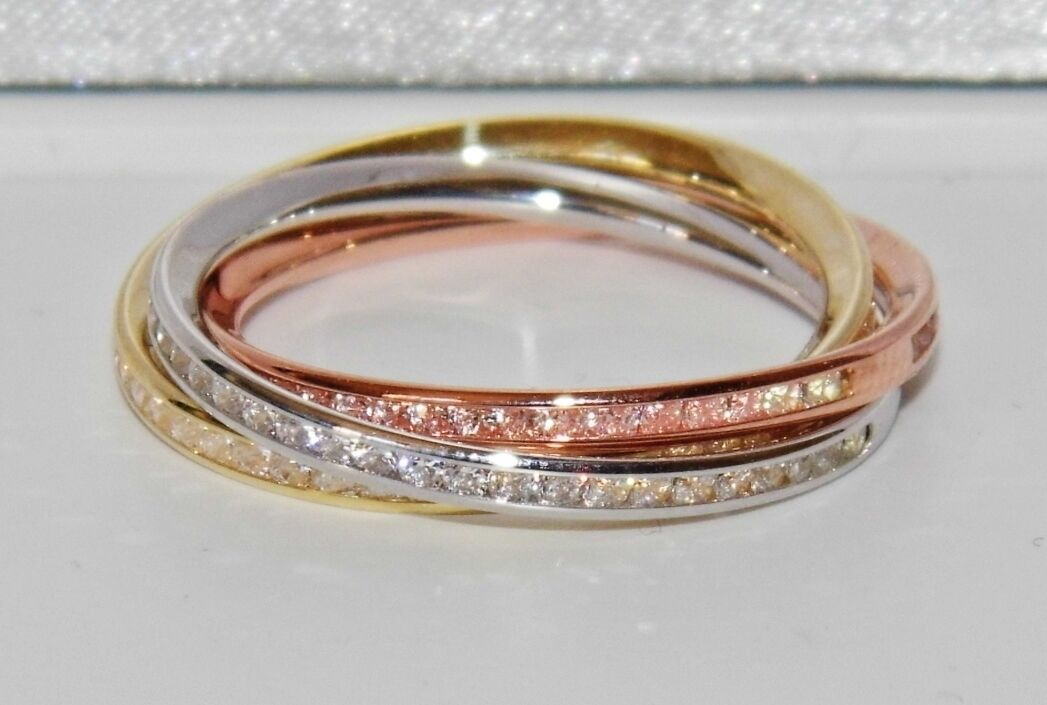 9ct Yellow pink & White gold 0.50ct Russian Wedding Ring - size Q
