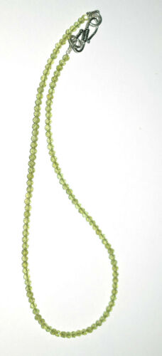 """925 Sterling Silver Green Peridot Gemstone 3 mm Beads 12-40/"""" Strand Necklace N32"""