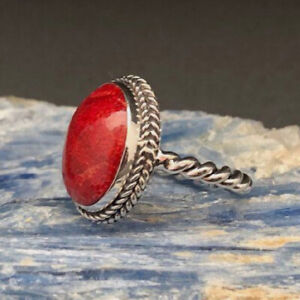 Red Coral Ring 925 Sterling Silver Ring Handmade Ring Boho Ring All Size KA-25