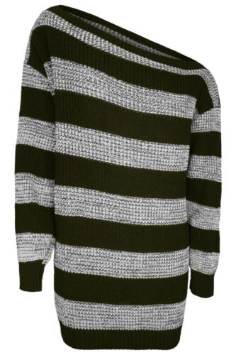 New Womens Ladies One Off Shoulder Chunky Knit Oversize Baggy Jumper Tunic Dress