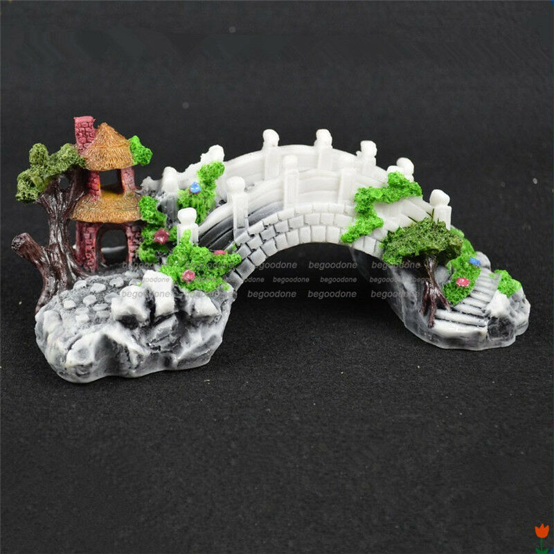 Handmade aquarium cave bridge ornament pavilion tree fish for Aquarium bridge decoration