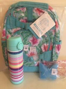 97 Pottery Barn Aqua Floral Palm Backpack Bag Large Water