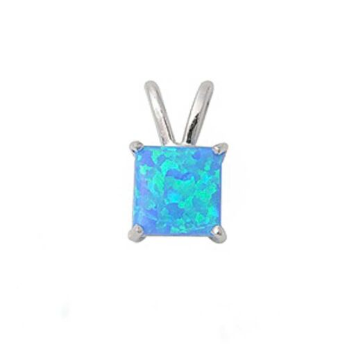 Princess Cut Blue Opal .925 Sterling Silver Pendant