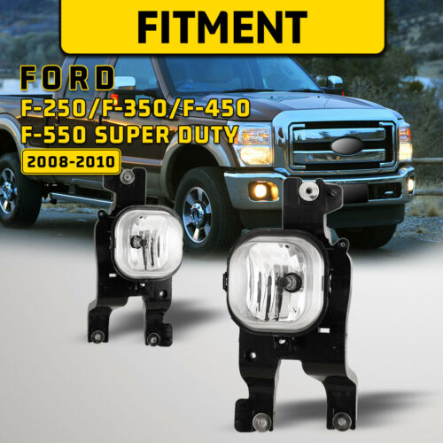 For 08-10 Ford F-250 F-350 F-450 F-550 Super Duty Fog Lights Bumper Driving Pair