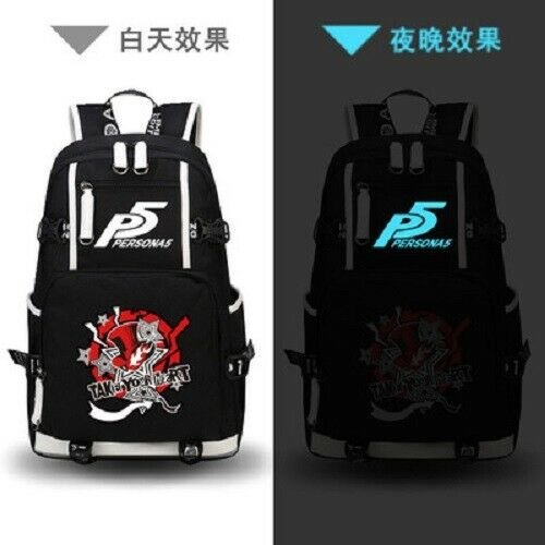 Persona Anime Backpack USB Luminous Laptop Bag Casual Student Travel Schoolbag
