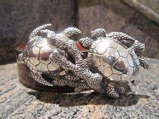 Rare!!! Kieselstein-Cord Sterling Sea Turtle Buckle And Brown Alligator Belt