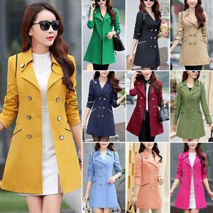 Women-Double-Breasted-Slim-Overcoat-Windbreaker-Long-Coat-Jacket-Trench-Outwear