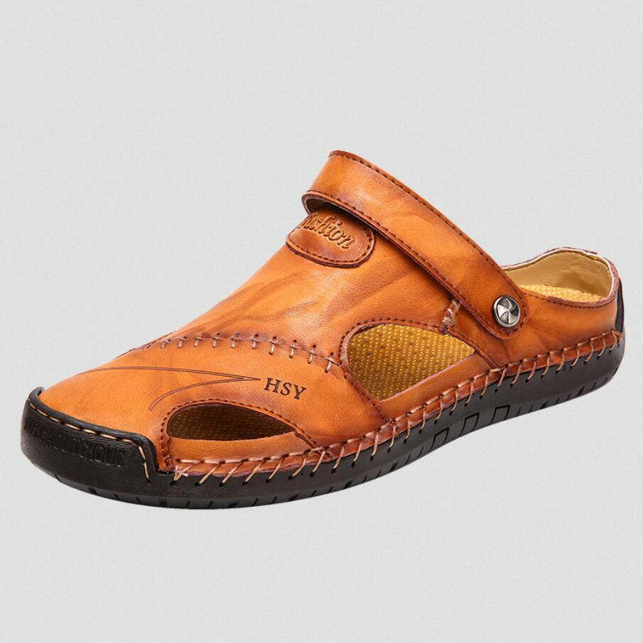 Mens Flat Leather Sandals Hollow Out Close Toe Summer Casual Beach shoes Outdoor