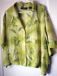 ccb0ea6b Lane Bryant Green Floral Button Down Blouse Short Sleeve 26W 28W 4X ...