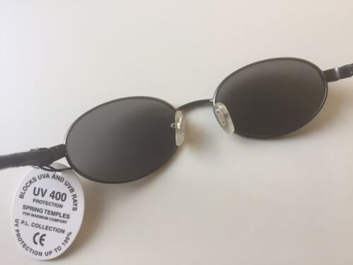 Vintage 90s Oval Sunglasses Dark Gray Gunmetal Frame Gray Lens Deadstock