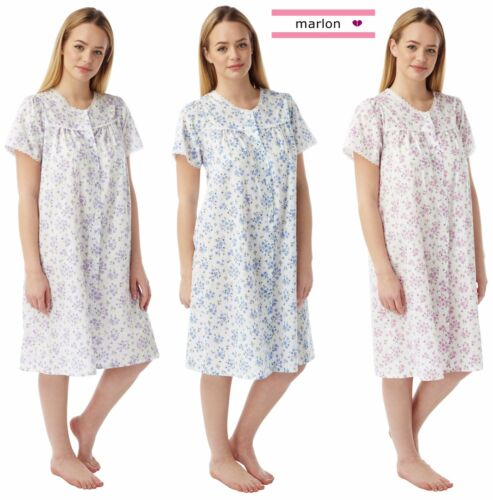 Ladies Floral Poly//Cotton Button Through Nightdress Nightie Size 10-30 Plus Size