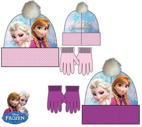 Disney Frozen Anna Elsa Mütze Handschuhe Set Wintermütze Herbst Bommel Kinder