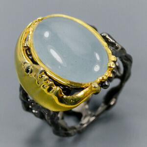Aquamarine-Ring-Silver-925-Sterling-Handmade-SET-Size-8-25-R134028