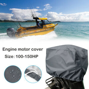 Universal-Boat-Outboard-Motor-Engine-Cover-Trailerable-Fits-100-150HP-Gray