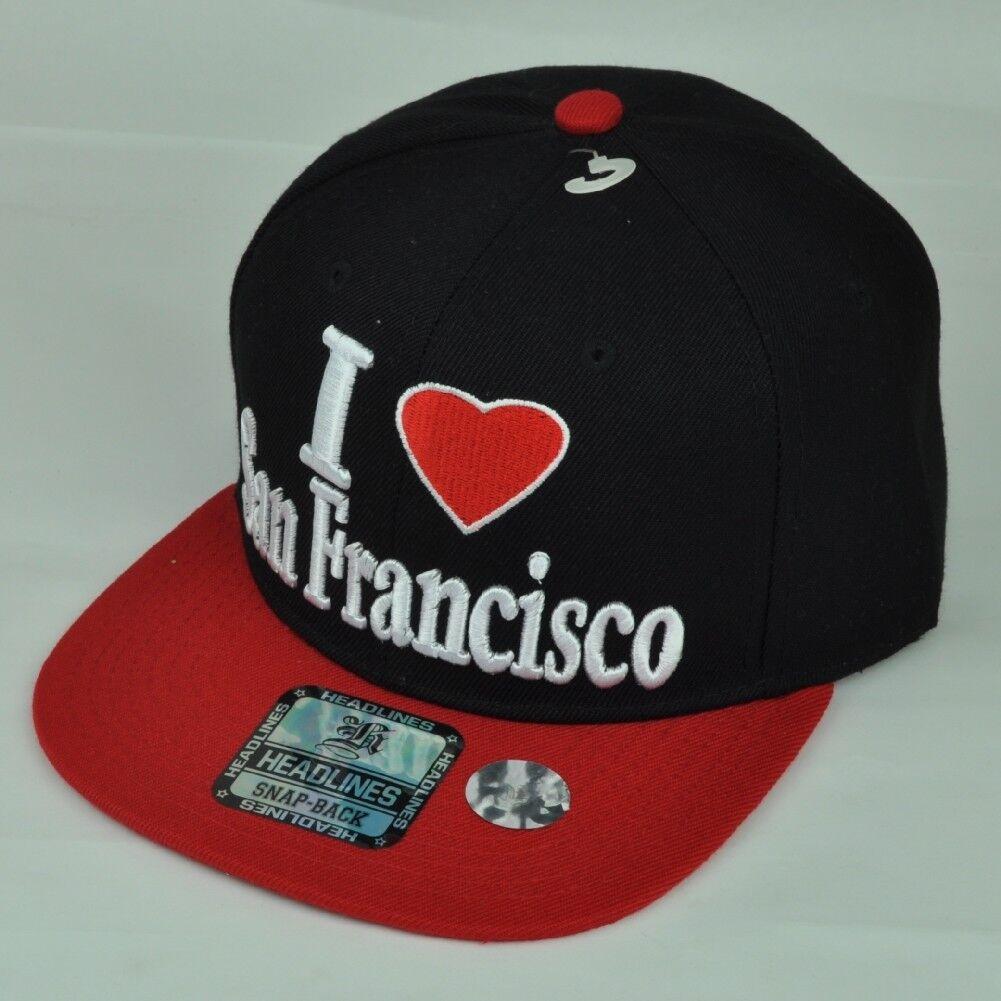 I Love San Francisco City Vereinigte Staaten USA Schwarz Hut Kappe Flache Bill