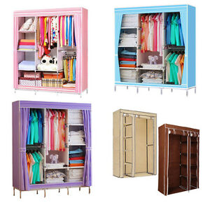 Image Is Loading  Double Triple Canvas Folding Close Wardrobe Cupboard Hanging