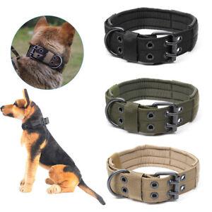 XL-Tactical-Military-Adjustable-Dog-Training-Collar-Nylon-Leash-W-Metal