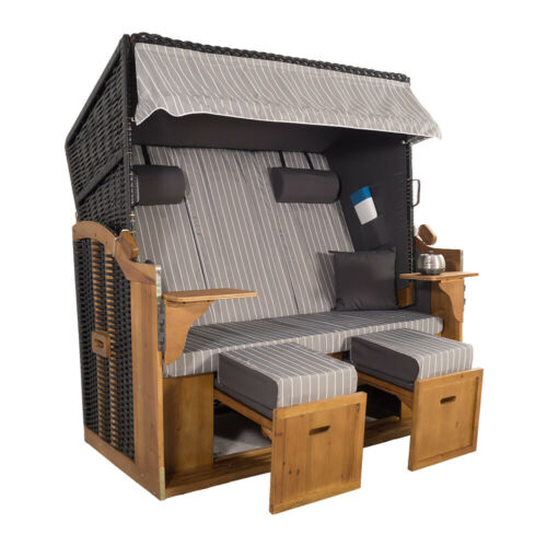 XXL 2,5-Sitzer Schwarz Strandkorb Hörnum Grau Nadelstreifen als Bausatz