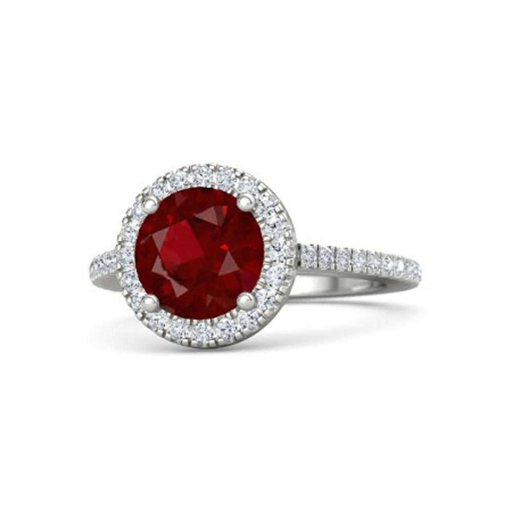 Ruby 2.44Ct Natural Gemstone 14K Solid White gold Size 6.5 8 7 9 Sale Ring